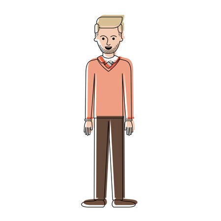 man full body with stubble beard and sweater and pants and shoes with side parted hairstyle in watercolor silhouette vector illustration
