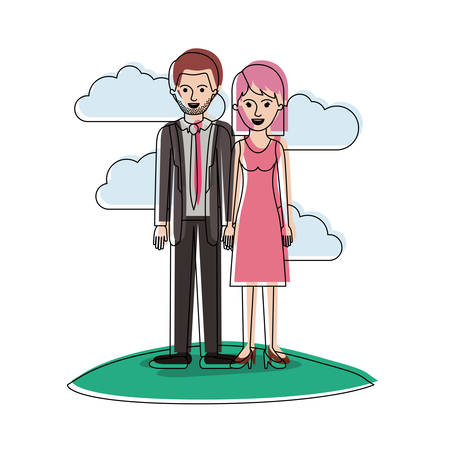 couple in watercolor silhouette scene outdoor and him with suit and tie and pants and shoes with short hair and stubble beard and her with dress and heel shoes with mid length hair vector illustration