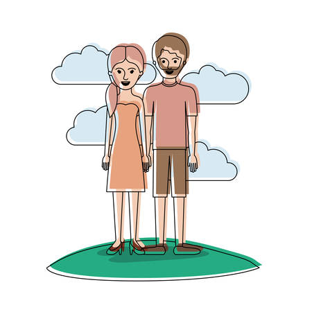 couple in watercolor silhouette scene outdoor and her with strapless dress and heel shoes with pigtail hairstyle and him with t-shirt and short pants and shoes with short hair and beard vector illustration Illustration