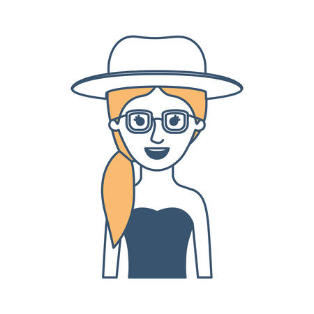woman half body with hat and glasses and strapless dress with pigtail hairstyle in color sections silhouette vector illustration