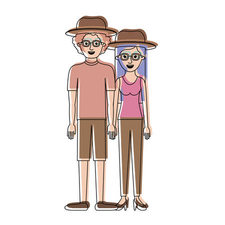 couple in watercolor silhouette and both with hat and glasses and him with shirt and short pants and shoes and curly hair and her with blouse and pants and heel shoes with long straight hair vector illustration Çizim