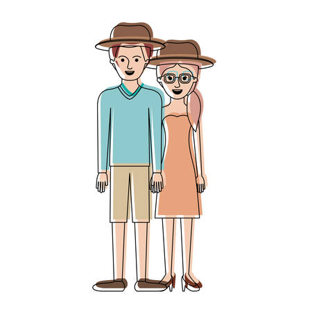 couple in watercolor silhouette and both with hat and him with sweater and short pants and shoes and her with glasses strapless dress and heel shoes with pigtail hairstyle vector illustration
