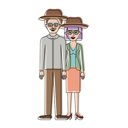 couple in watercolor silhouette and both with hat and glasses and him with moustache and shirt and pants and shoes and her with blouse and jacket and skirt and heel shoes with mushroom hairstyle vector illustration Illustration