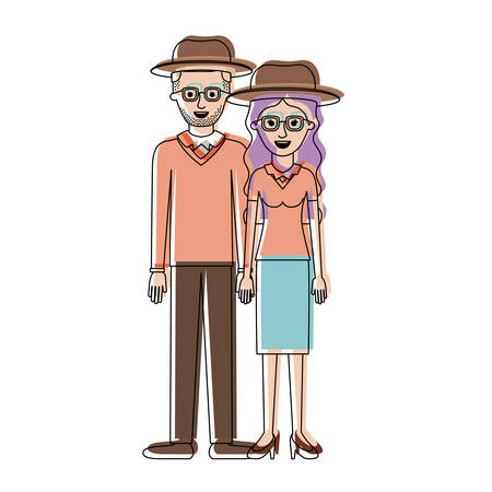 couple in watercolor silhouette and both with hat and glasses and him with stubble beard and sweater and pants and shoes and her with blouse and skirt and heel shoes with long wavy hair vector illustration Illustration