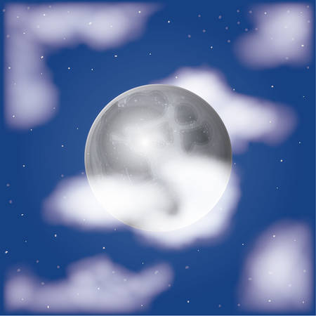 nightly moonlight scene background with clouds and sky starry vector illustration