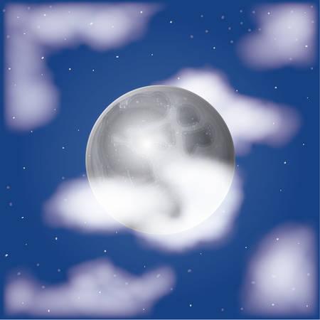 nocturno escena de la luna de fondo con nubes y cielo estrellado ilustración vectorial