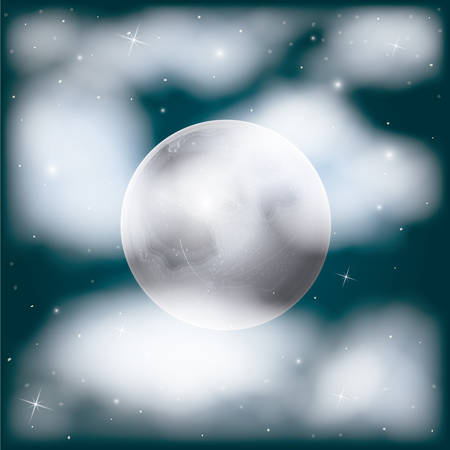 nightly sky scene background with moon and cloudiness and stars vector illustration