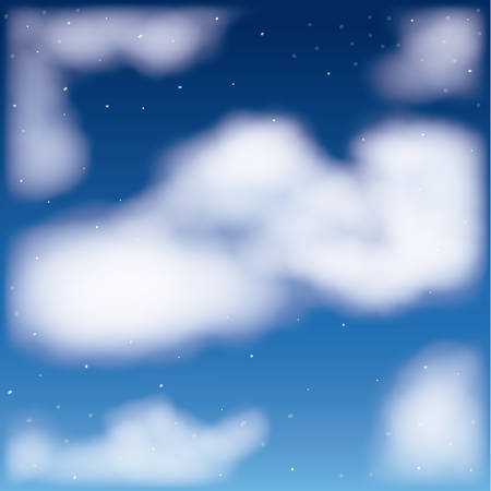 nightly background with cloud cumulus and starry sky vector illustration