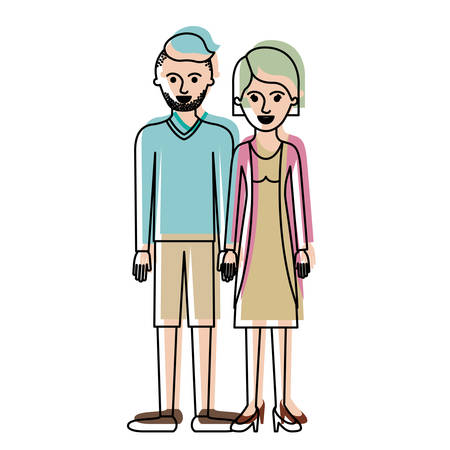 couple in watercolor silhouette and him with t-shirt long sleeve and short pants and shoes with high fade haircut and stubble beard and her with blouse and jacket and skirt and heel shoes with short hair vector illustration Illustration