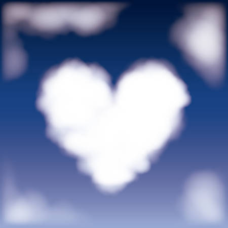 nightly background with cloud in shape of heart in the sky vector illustration