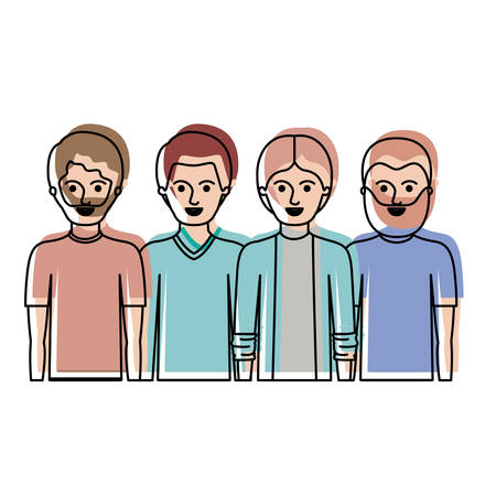 men in half body with casual clothes with short hair and some with beard in watercolor silhouette vector illustration