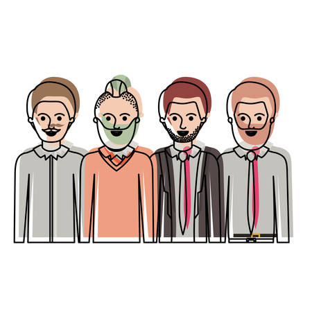men in half body with casual clothes with short hair and some with beard and moustache in watercolor silhouette vector illustration