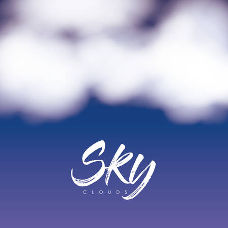 sky clouds poster with clouds over nightly sky vector illustration