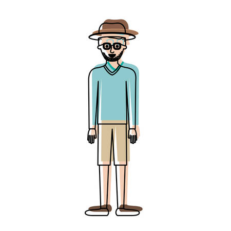 man with hat and glasses and sweater and short pants and shoes with short hair and stubble beard in watercolor silhouette vector illustration Illustration
