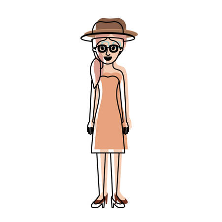 woman with hat and glasses and strapless dress and heel shoes with pigtail hairstyle in watercolor silhouette vector illustration Illustration