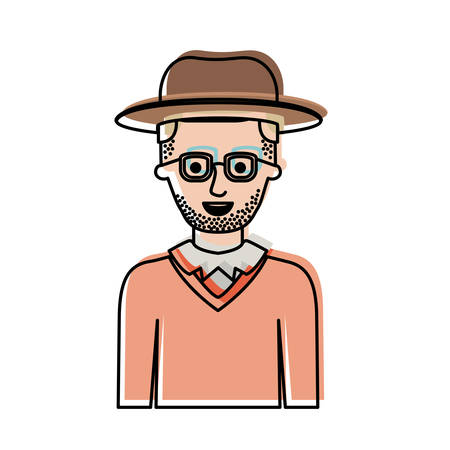 man half body with hat and glasses and sweater with short hair and stubble beard in watercolor silhouette vector illustration