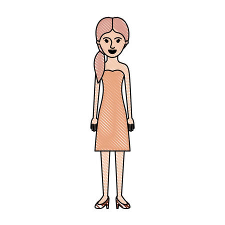 woman full body with strapless dress and heel shoes with pigtail hairstyle in colored crayon silhouette vector illustration Illustration
