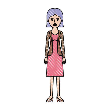 woman full body with blouse and jacket and skirt and heel shoes with short straight hairstyle in colored crayon silhouette vector illustration