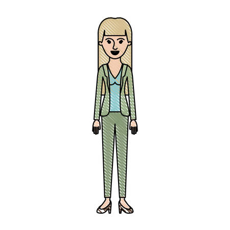 woman full body with blouse and jacket and pants and heel shoes with straight long hair in colored crayon silhouette vector illustration