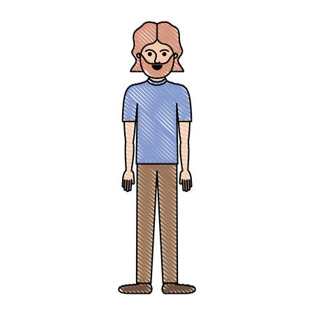 man full body with t-shirt and pants and shoes with mid length hair and beard in colored crayon silhouette vector illustration