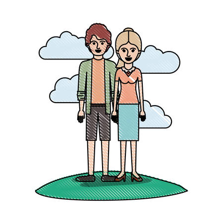 couple in colored crayon silhouette scene outdoor and him with shirt and jacket and short pants and shoes with short wavy hair and her with blouse and skirt and heel shoes with ponytail hair vector illustration