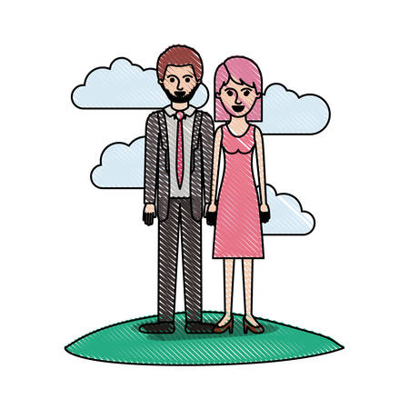 couple in colored crayon silhouette scene outdoor and him with suit and tie and pants and shoes with short hair and stubble beard and her with dress and heel shoes with mid length hair vector illustration