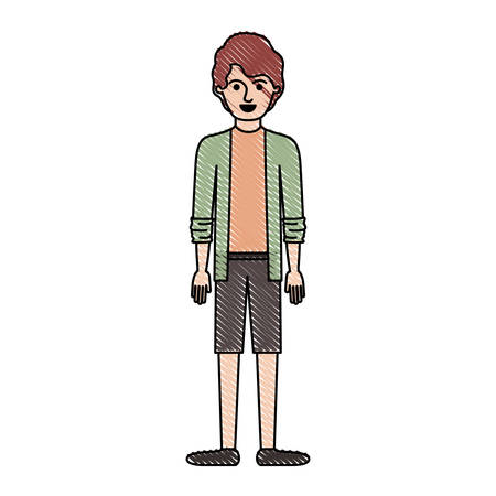man full body with shirt and jacket and short pants and shoes with short wavy hair in colored crayon silhouette vector illustration