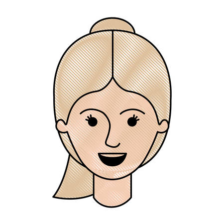 female face with ponytail hairstyle in colored crayon silhouette vector illustration