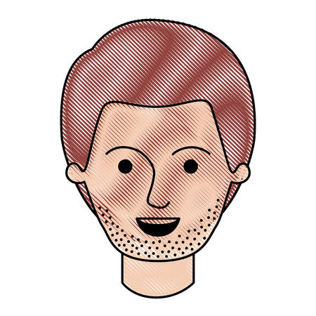 male face with short hair and stubble beard in colored crayon silhouette vector illustration