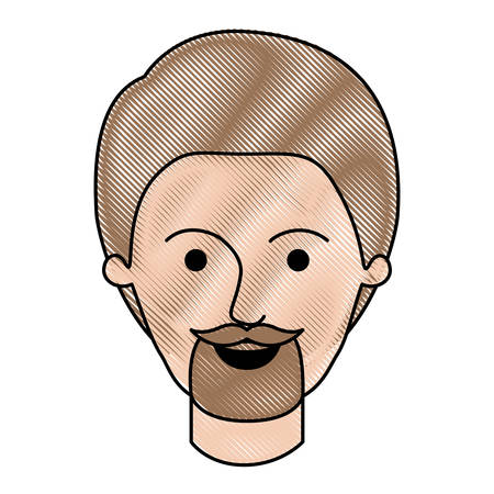 male face with short hair and goatee beard in colored crayon silhouette vector illustration