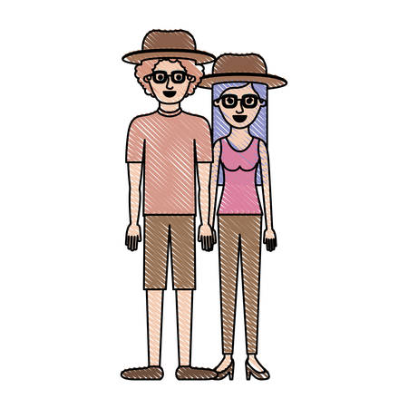 couple in colored crayon silhouette and both with hat and glasses and him with shirt and short pants and shoes and curly hair and her with blouse and pants and heel shoes with long straight hair vector illustration