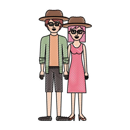 couple in colored crayon silhouette and both with hat and glasses and him with shirt and jacket and short pants and shoes and her with dress and heel shoes with mid length hair vector illustration