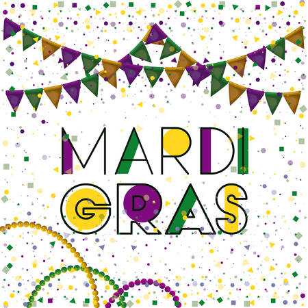 mardi gras colorful background with triangular festoons and necklaces and confetti vector illustration