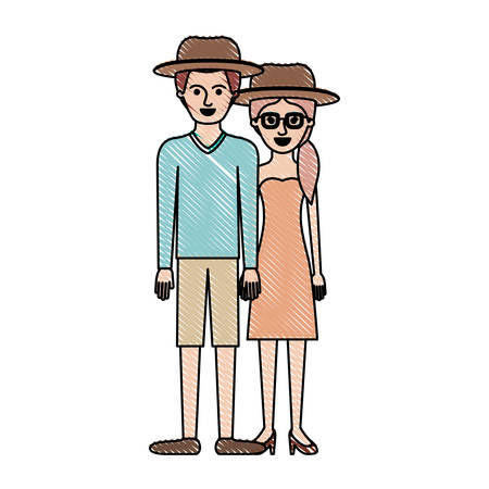 couple in colored crayon silhouette and both with hat and him with sweater and short pants and shoes and her with glasses strapless dress and heel shoes with pigtail hairstyle vector illustration
