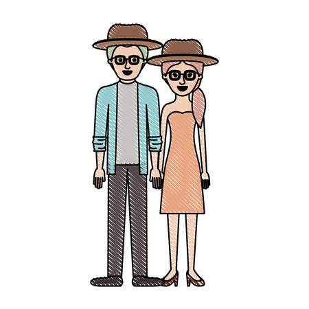 couple in colored crayon silhouette and both with hat and glasses and him with shirt and jacket and pants and shoes and her with strapless dress and heel shoes with pigtail hairstyle vector illustration