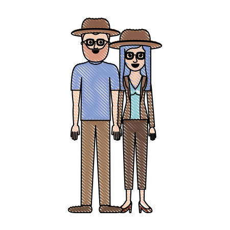 couple in colored crayon silhouette and both with hat and glasses and pants and him with beard and t-shirt and shoes and her with blouse and jacket and heel shoes and layered hair vector illustration Illustration