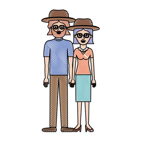 couple in colored crayon silhouette and both with hat and glasses and him with beard and t-shirt and pants and shoes and her with blouse and skirt and heel shoes and short straight hair vector illustration Illustration