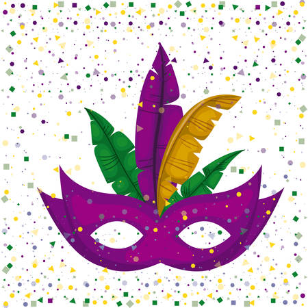 purple carnival mask and colorful feathers with confetti background vector illustration