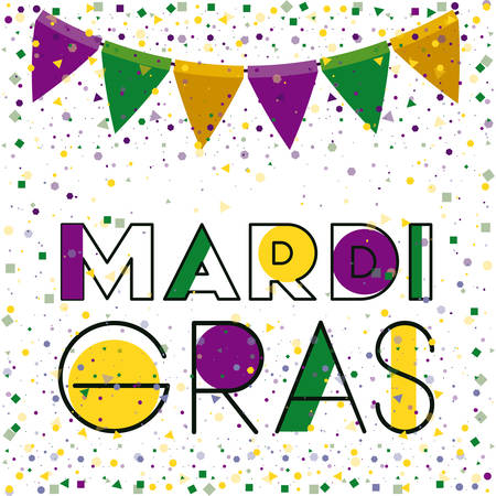 mardi gras colorful background with triangular festoons and confetti vector illustration Illustration