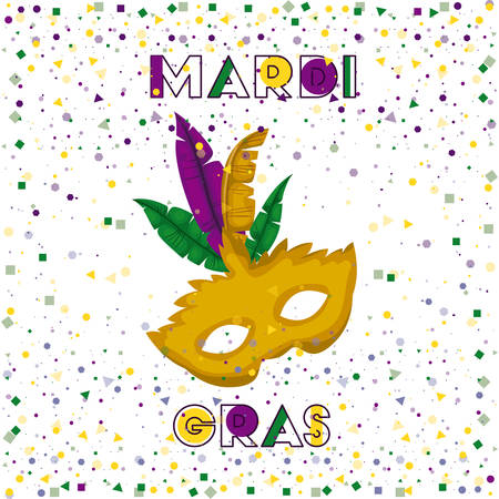 mardi gras poster with yellow carnival mask and colorful feathers with confetti background vector illustration Illustration