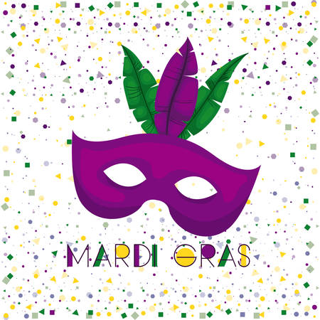 mardi gras poster with purple carnival mask and colorful feathers with confetti background vector illustration