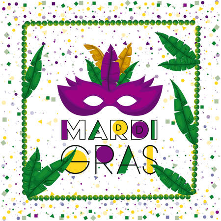 carnival mardi gras poster with green necklace frame with feathers and purple mask over colorful confetti background vector illustration