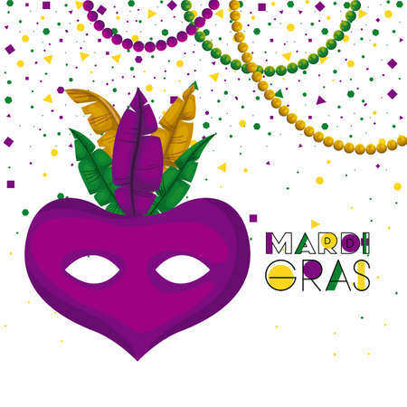 mardi gras poster with purple carnival mask with colorful feathers and necklaces and confetti background vector illustration
