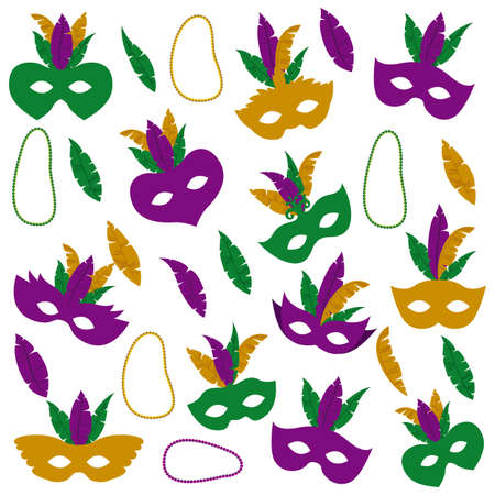 mardi gras pattern with mask feathers and necklaces vector illustration