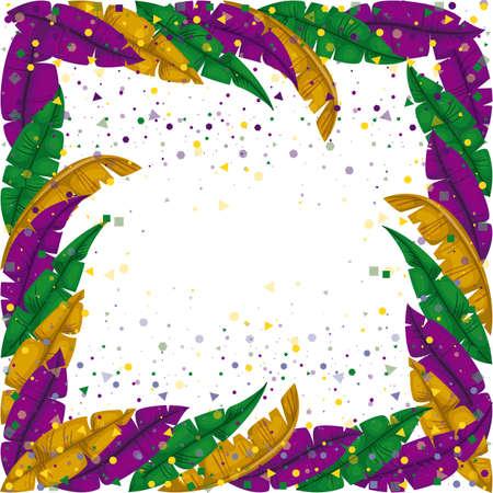 mardi gras frame met veren en kleurrijke confetti achtergrond vectorillustratie