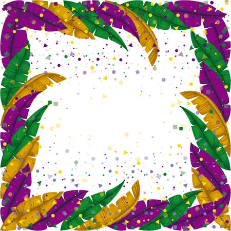 mardi gras frame with feathers and colorful confetti background vector illustration
