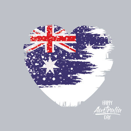 happy australia day poster with australian flag on heart in brush strokes in light background vector illustration