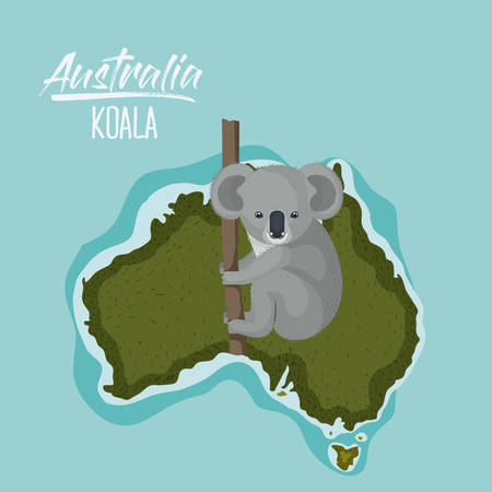 poster koala in australia map in green surrounded by the ocean vector illustration