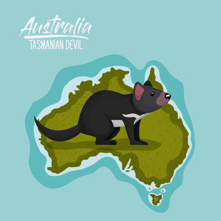 poster tasmanian devil in australia map in green surrounded by the ocean vector illustration