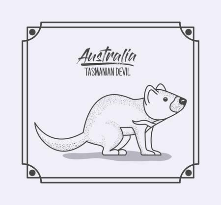 australia tasmanian devil in frame and monochrome silhouette vector illustration